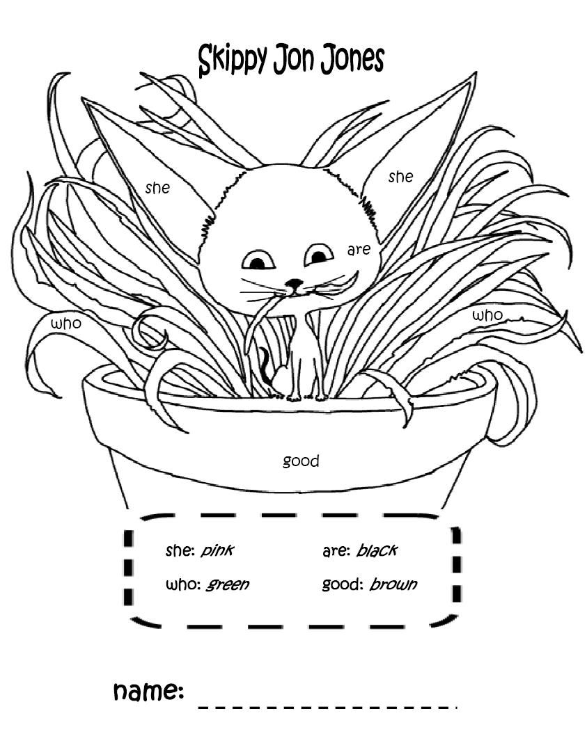 skippy jon jones coloring page with sight words that I