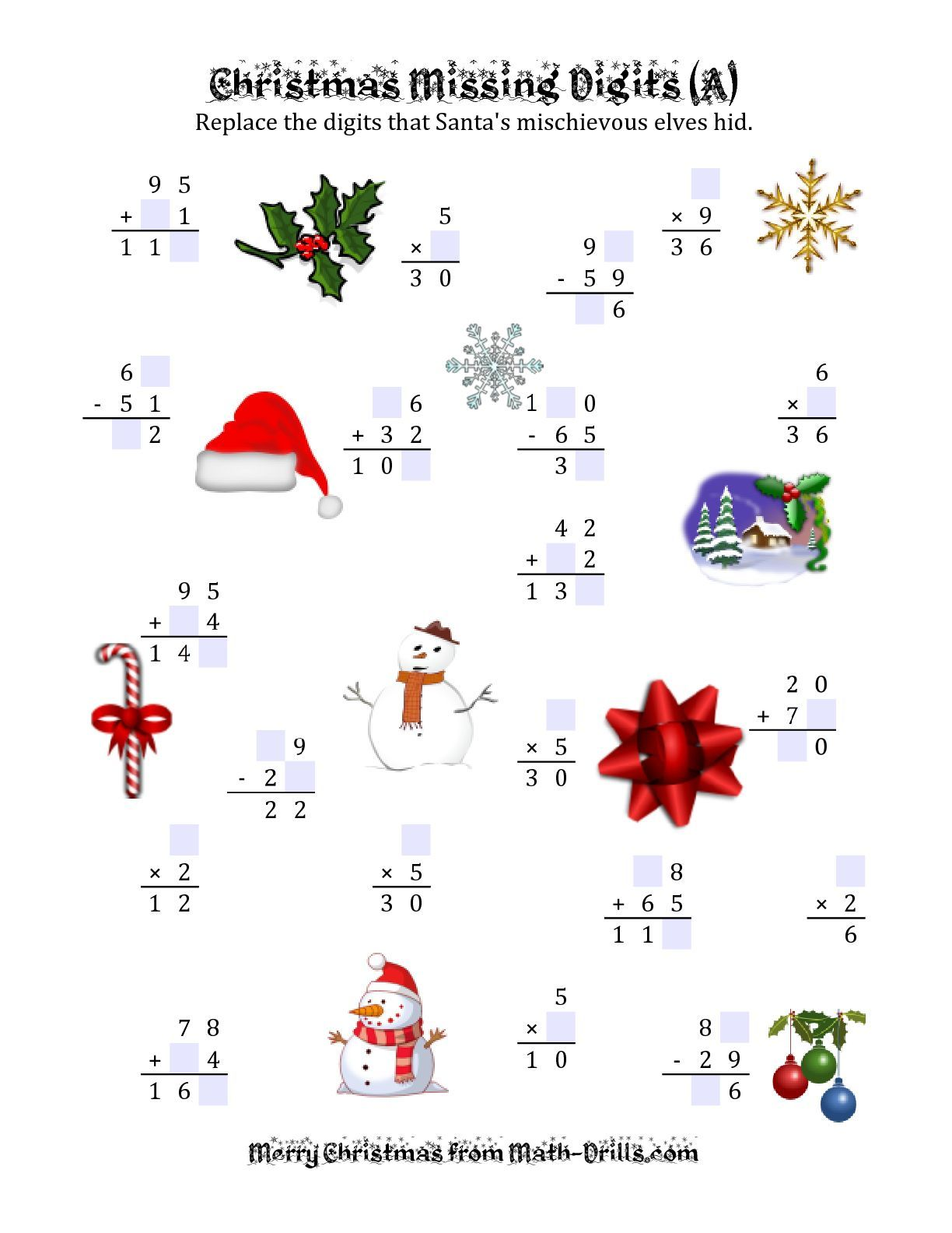 This Christmas Math Worksheet May Be Printed Downloaded Or Saved And Used In Your Classroom