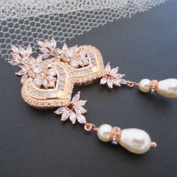 Rose Gold Bridal Earrings Chandelier By Treasures570