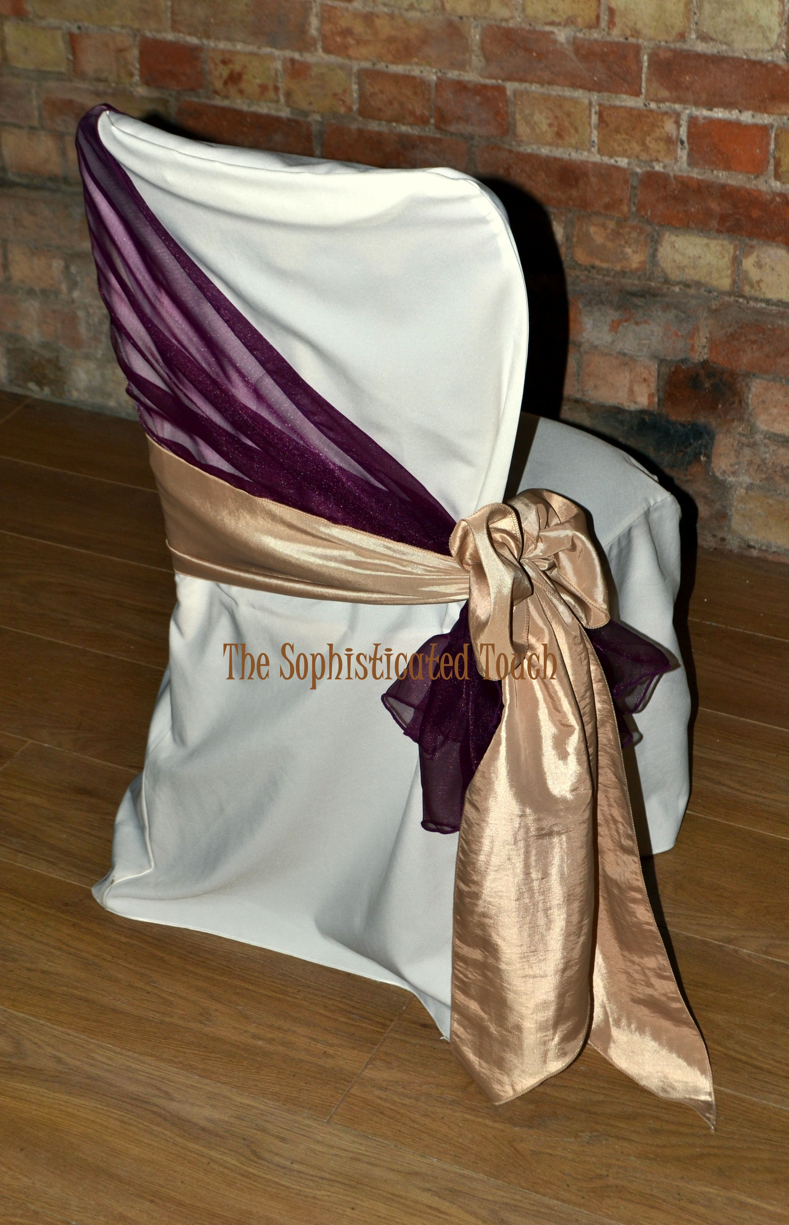 burgundy chair covers wedding mid century modern lounge chairs organza shawl with gold satin side bow on ivory