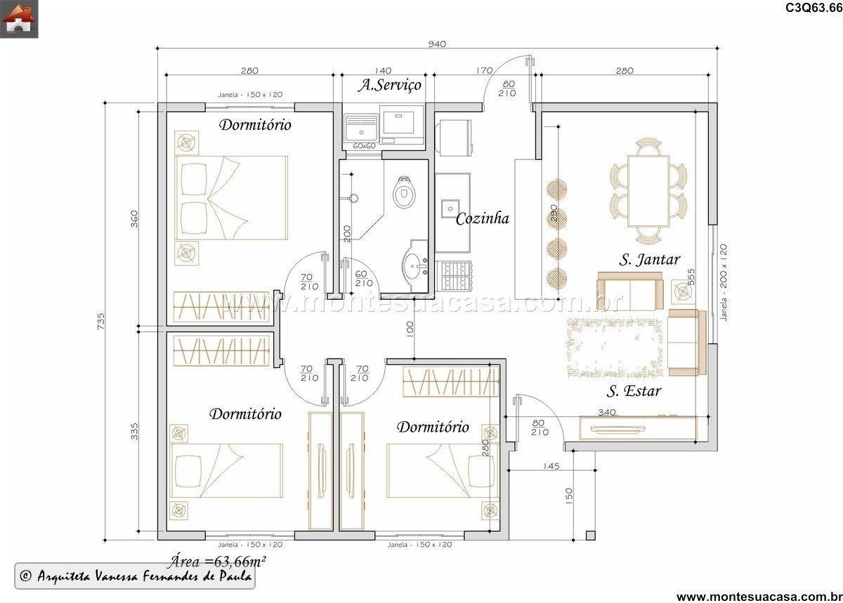 C3q63 66 Casa Tradicional 63 66m Quartos 3 Quartos Sem