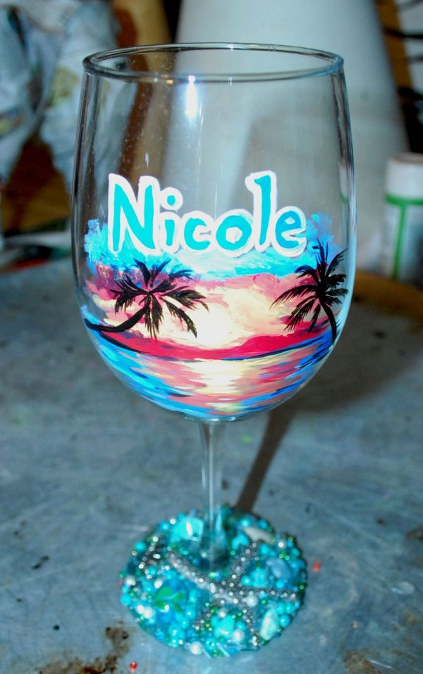 Beach Landscape Hand Painted Wine Glass Beaded Base