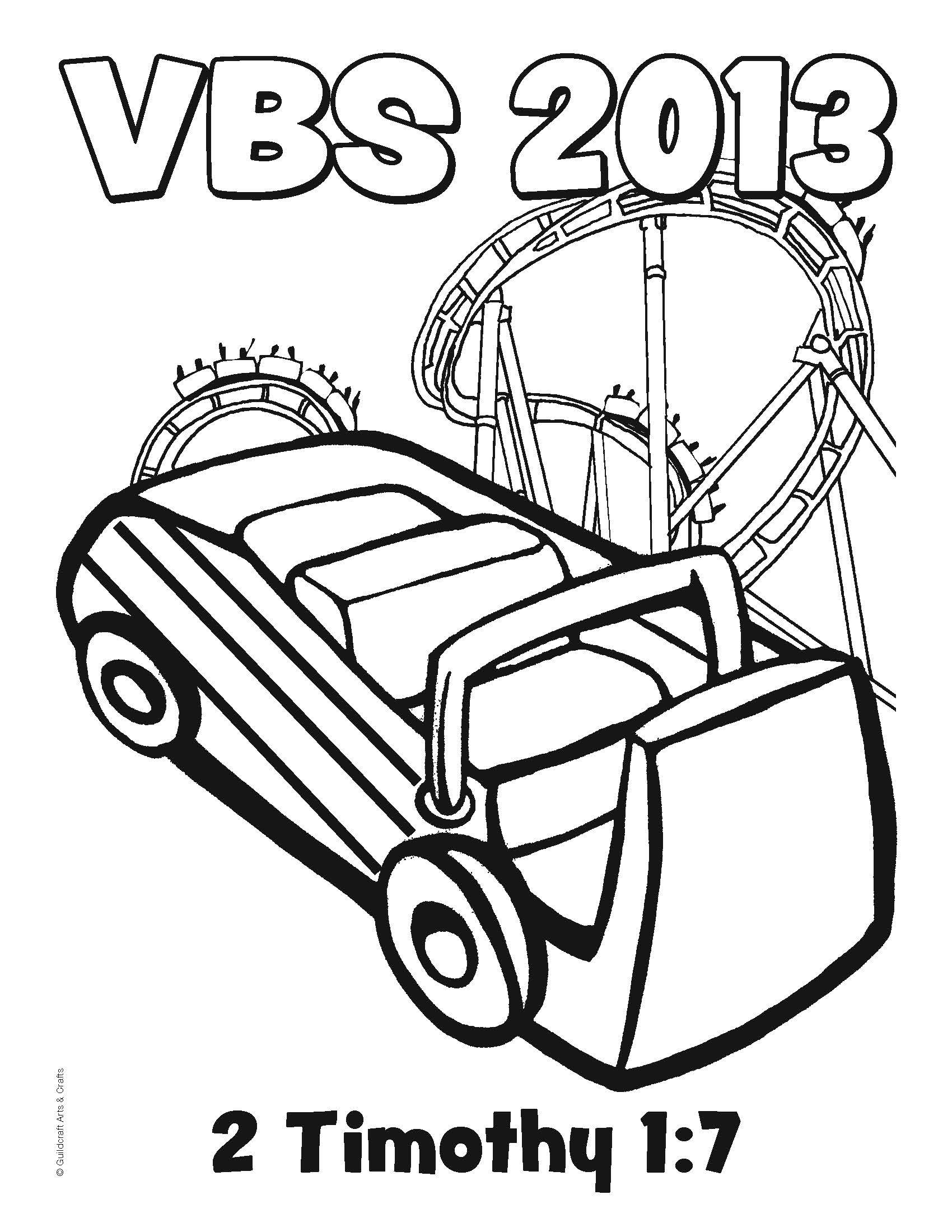 Free Roller Coaster VBS 2013 coloring sheet from