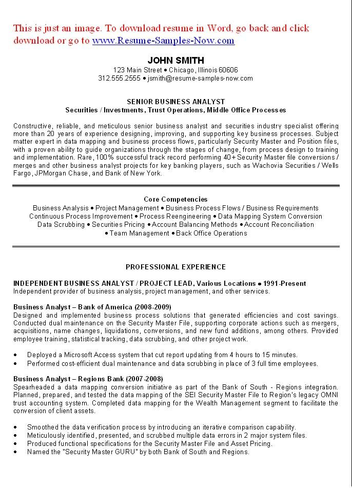 Example Of Business Analyst Resume - Examples of Resumes - Agile Business Analyst Resume