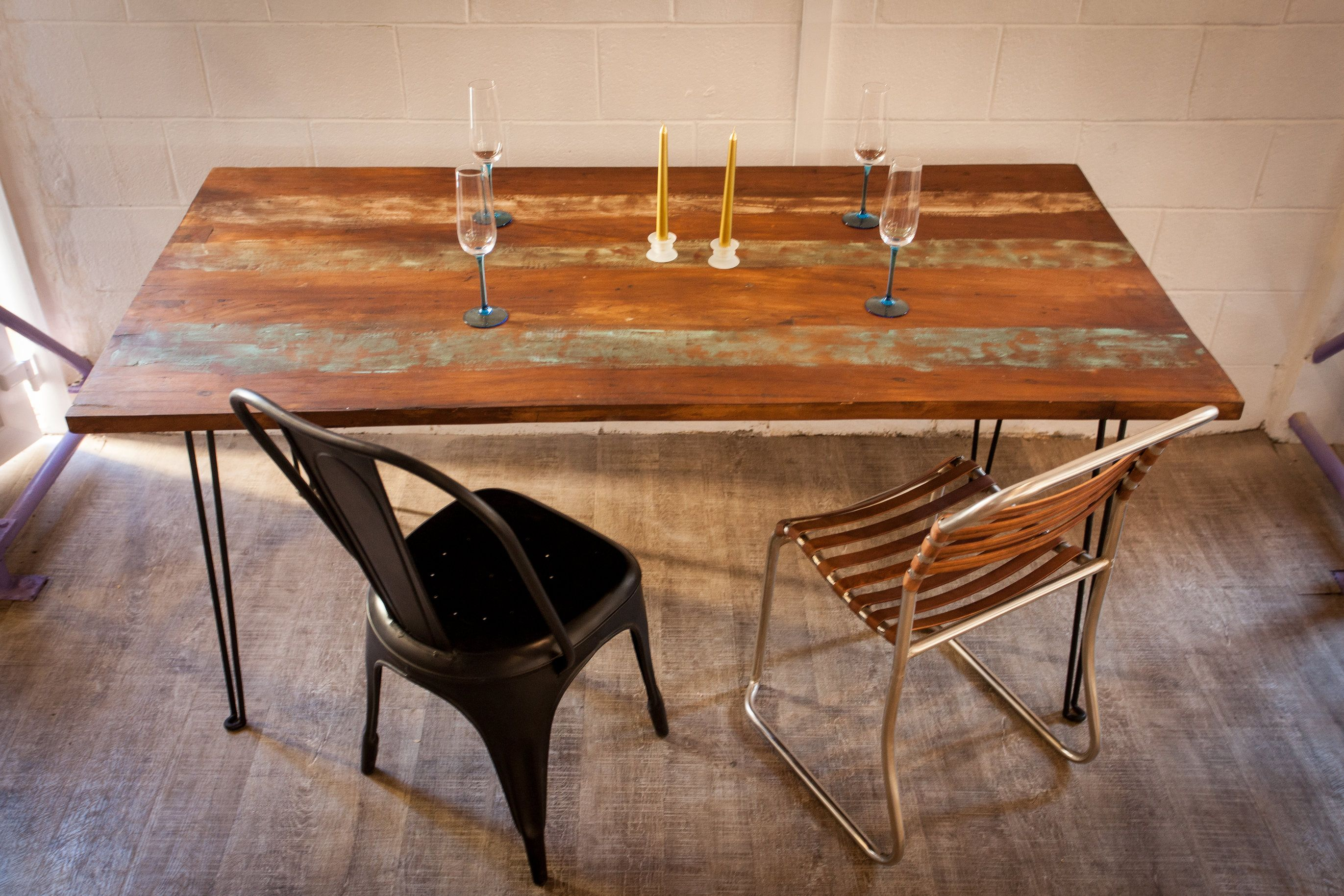 table a manger bois recycle et metal http www sweetmango fr