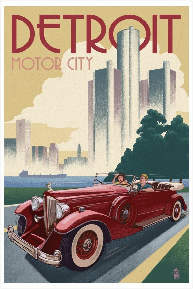 framed prints for kitchens four hole kitchen faucets detroit vintage travel poster | usa in posters pinterest ...