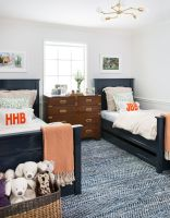 Double twin beds and patterned textured rug   Jennifer ...