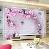 Cherry Blossom and Butterfly Wall Mural Wall Stickers ...