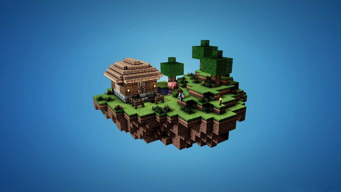 Minecraft Video Games Houses Floating Islands Simple Background