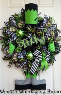 XL Halloween Frankenstein Deco Mesh Wreath, Fall Wreath ...