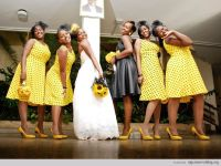 Nigerian wedding yellow and grey bridesmaids dresses Ben ...