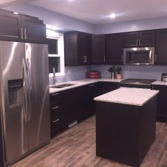 Ikea Kitchen Counters Pan Diy With Laxarby Cabinets Quartz Countertops