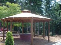 Custom Gazebo with cedar shake roof and fire pit. | build ...