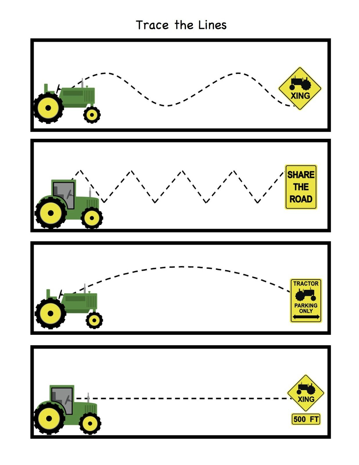 Preschool Printables Little Green Tractor Pattern Cards