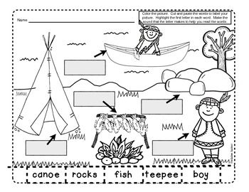 November Labeling Activities/Beginning Sounds Worksheet