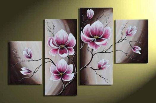 And Framed Artwork 100 Hand Painted 4 Panels Abstract Fl Oil Paintings On Canvas Wall Art For Bedroom Home Decorations Check It Out