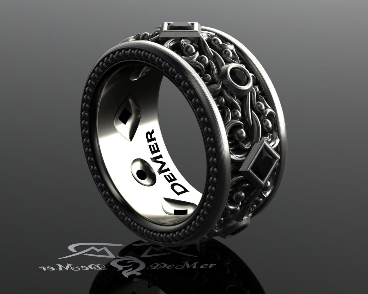 Black diamond mens eternity band Wide sterling wedding band Steampunk Victorian Gothic black