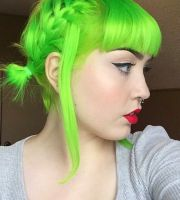 neon green hair color colourful