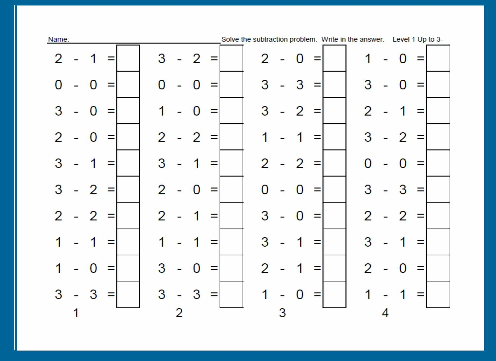 Worksheet For Building Subtraction Fluency One Column A