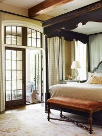 Custom bed with a scalloped wood canopy and upholstered ...