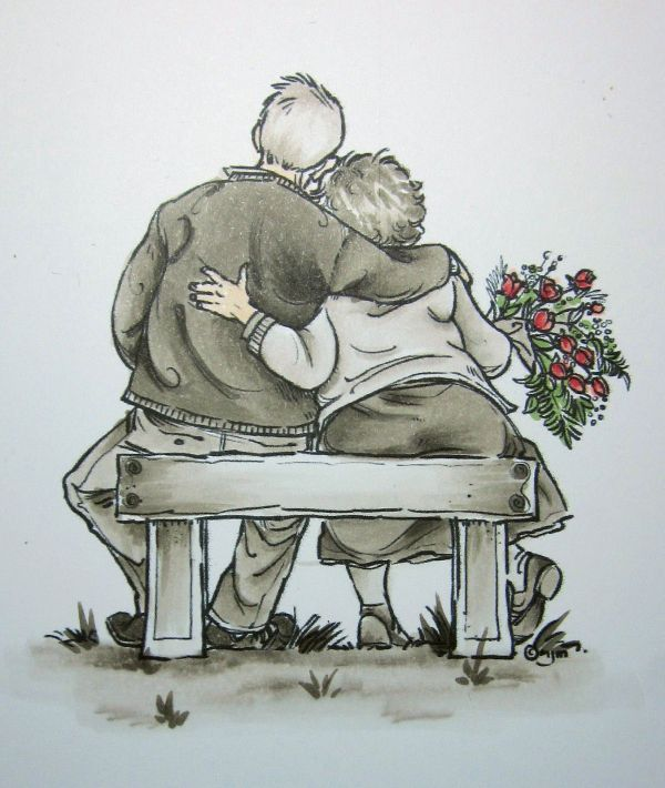 Pencil Drawing Older Couple Love
