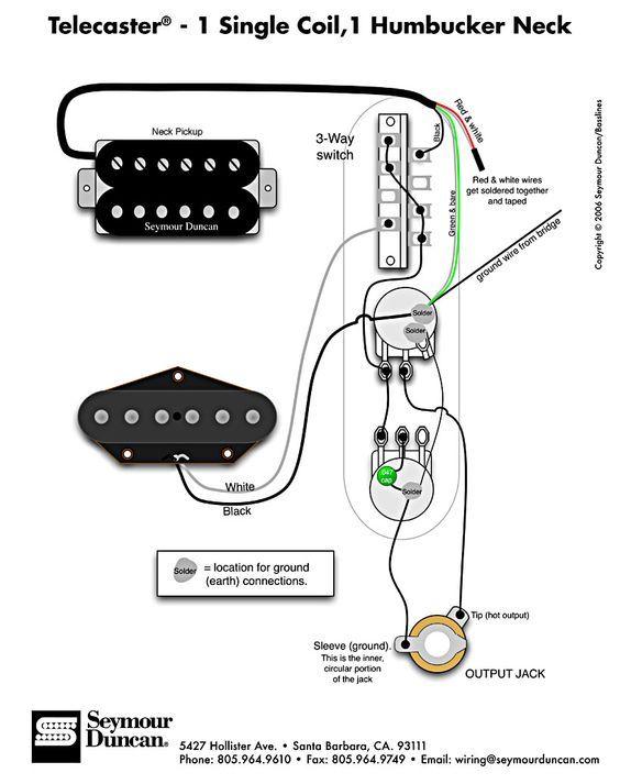 seymour duncan 59 wiring diagram leviton decora 3 way switch telecaster - humbucker & single coil | learn guitar pinterest guitars, ...