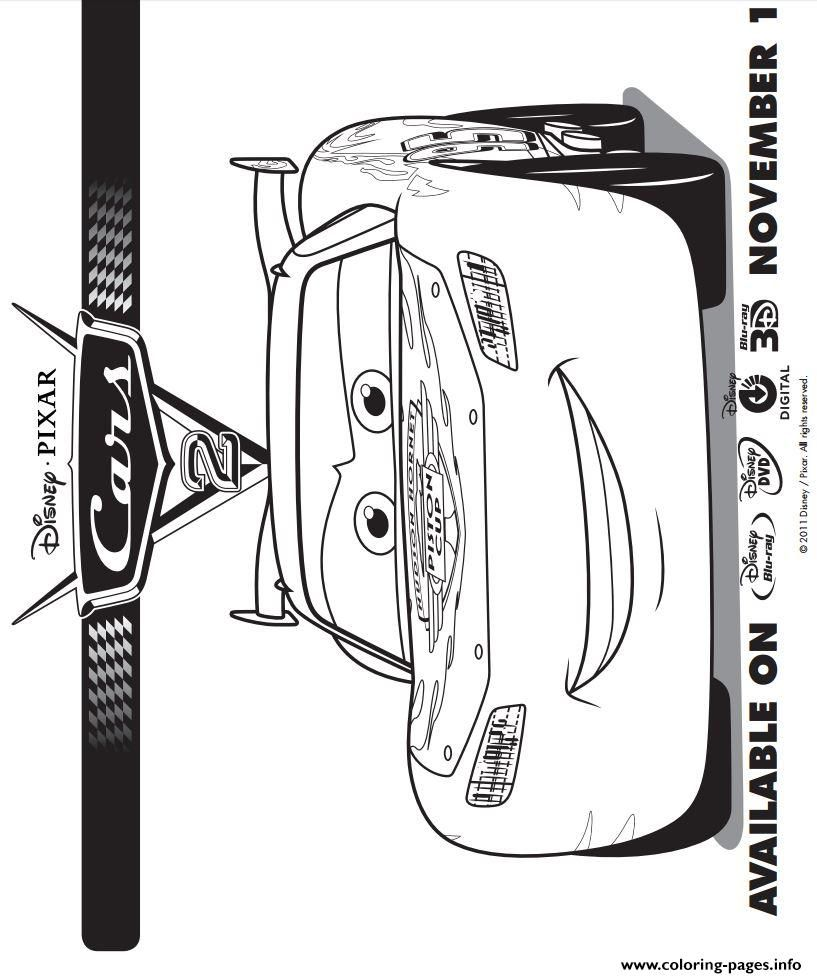 Print Lightning Mcqueen Cars 2 Coloring Pages Summer Crafts