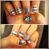 Nail art, Aztec Design -ish :) by hand | Nail Art ...
