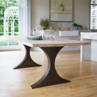 Paris Rectangular Dining Table With Metal Legs And Wood ...