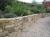 dry stacked with gravel in front
