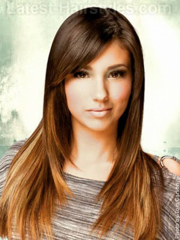 Long Hairstyles With Layers And Side Bangs For Women With Oval