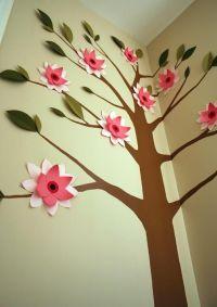 DIY 3-D paper flower & tree mural for little girl's ...