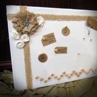 Shabby Chic Burlap Bulletin Board I created with burlap