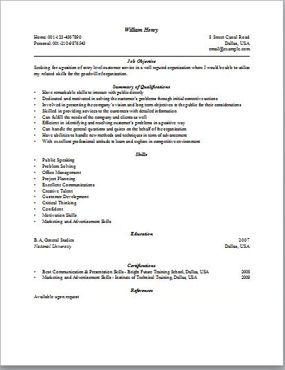 customer service sample resumes