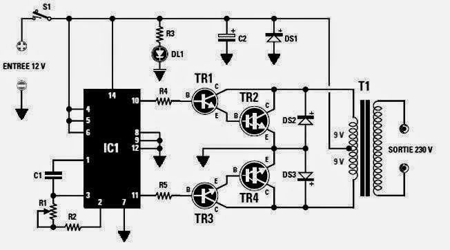 Converter 12 VDC to 230 VAC or Inverter circuit diagram
