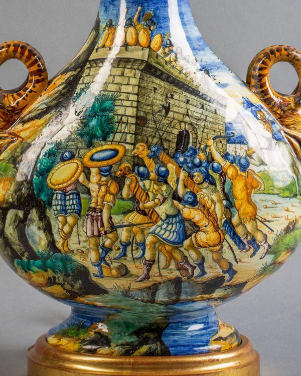 Italian Majolica Vase Mounted Lamp Cantagalli Circa 1900