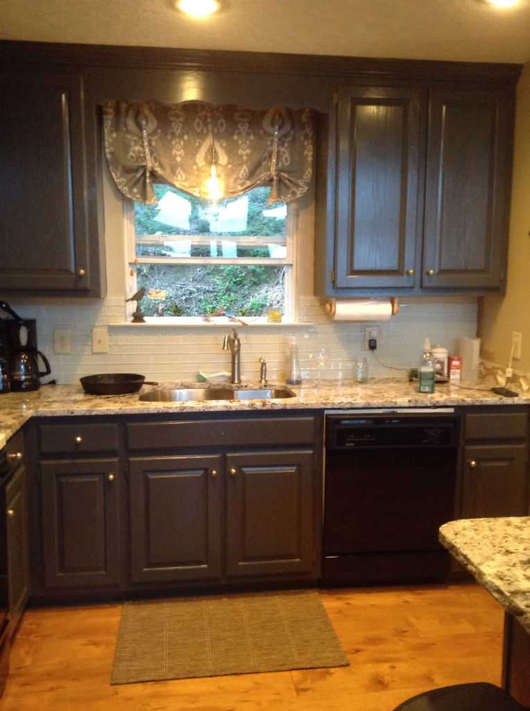 kitchen cabinet stain colors moen faucet aerator after update sw urbane bronze paint on cabinets, ...