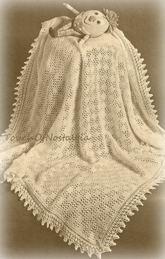 Vntg Lacy Baby SHAWL / Blanket Knitting by