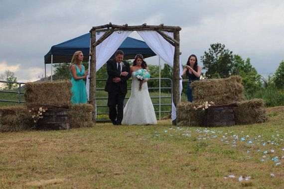 Rustic Wedding Arch Arbor Log Wood Tree Slice Cabin Decor