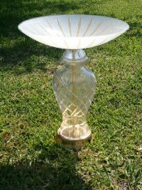 old lamp base and antique light fixture made to bird bath ...