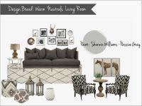 interior design mood board: warm neutral living room, gray ...
