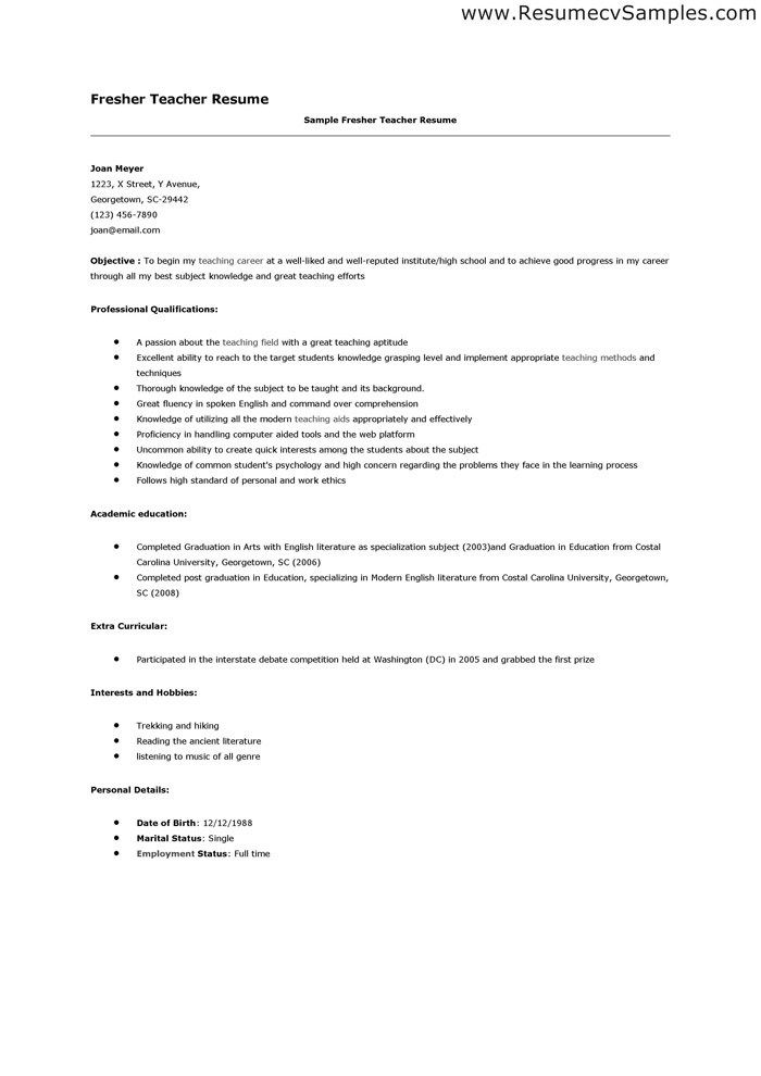 Fresher lawyer resume