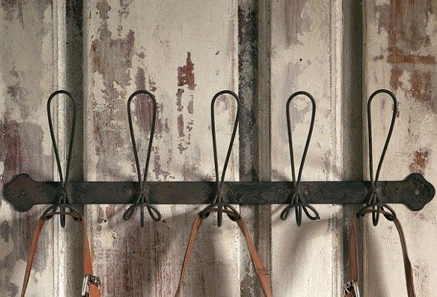 FRENCH WIRE COAT RACK WALL HOOKS~5 Hooks~Vintage Style