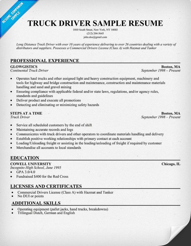 Truck Driver Sample Resume resumecompanioncom  Resume Samples Across All Industries