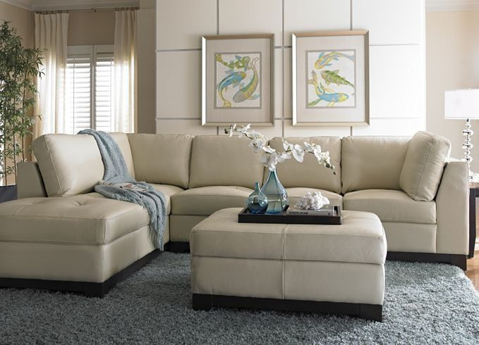 cindy crawford light blue sofa innovation splitback review havertys sectional | this cream leather looks ...