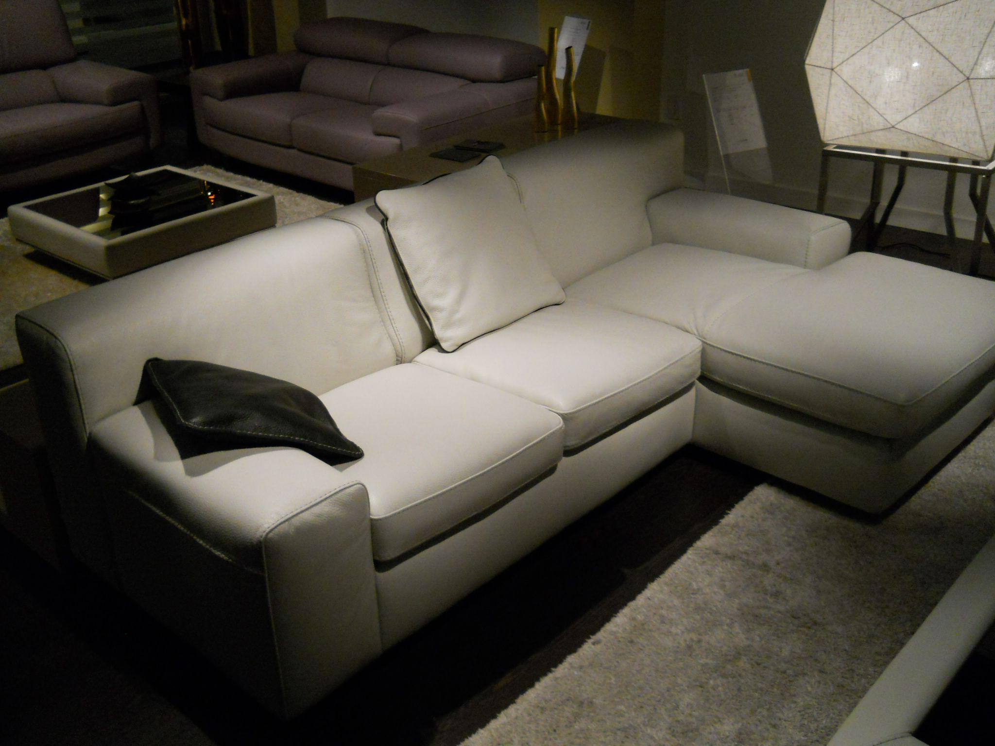 condo sized sectional sofa ottawa bed reviews consumer reports off white size leather made in italy