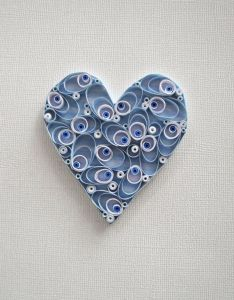 Quilled paper heart for home decor blue and white wall also rh pinterest