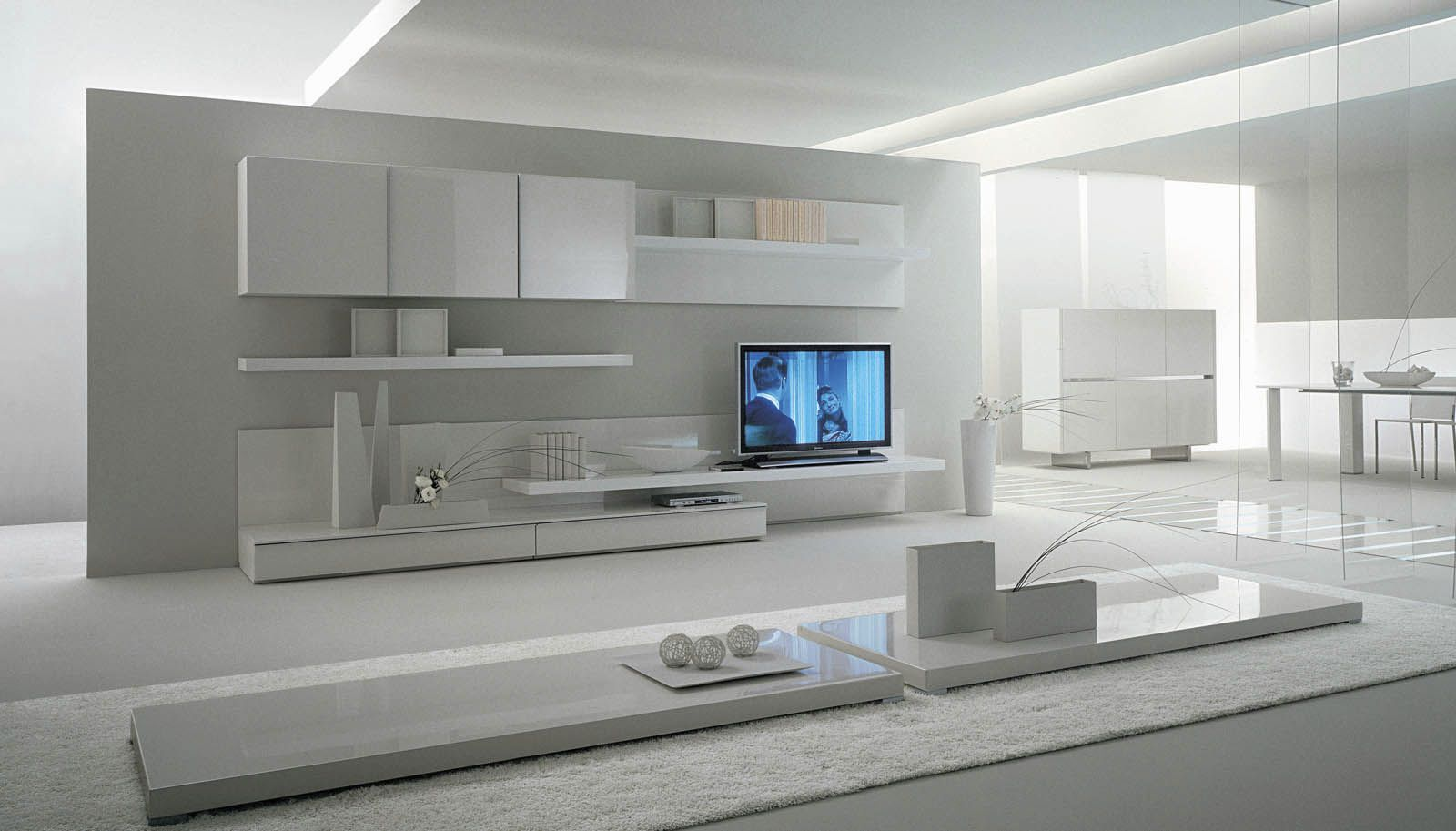 Contemporary Lacquered Tv Wall Units With White Theme In