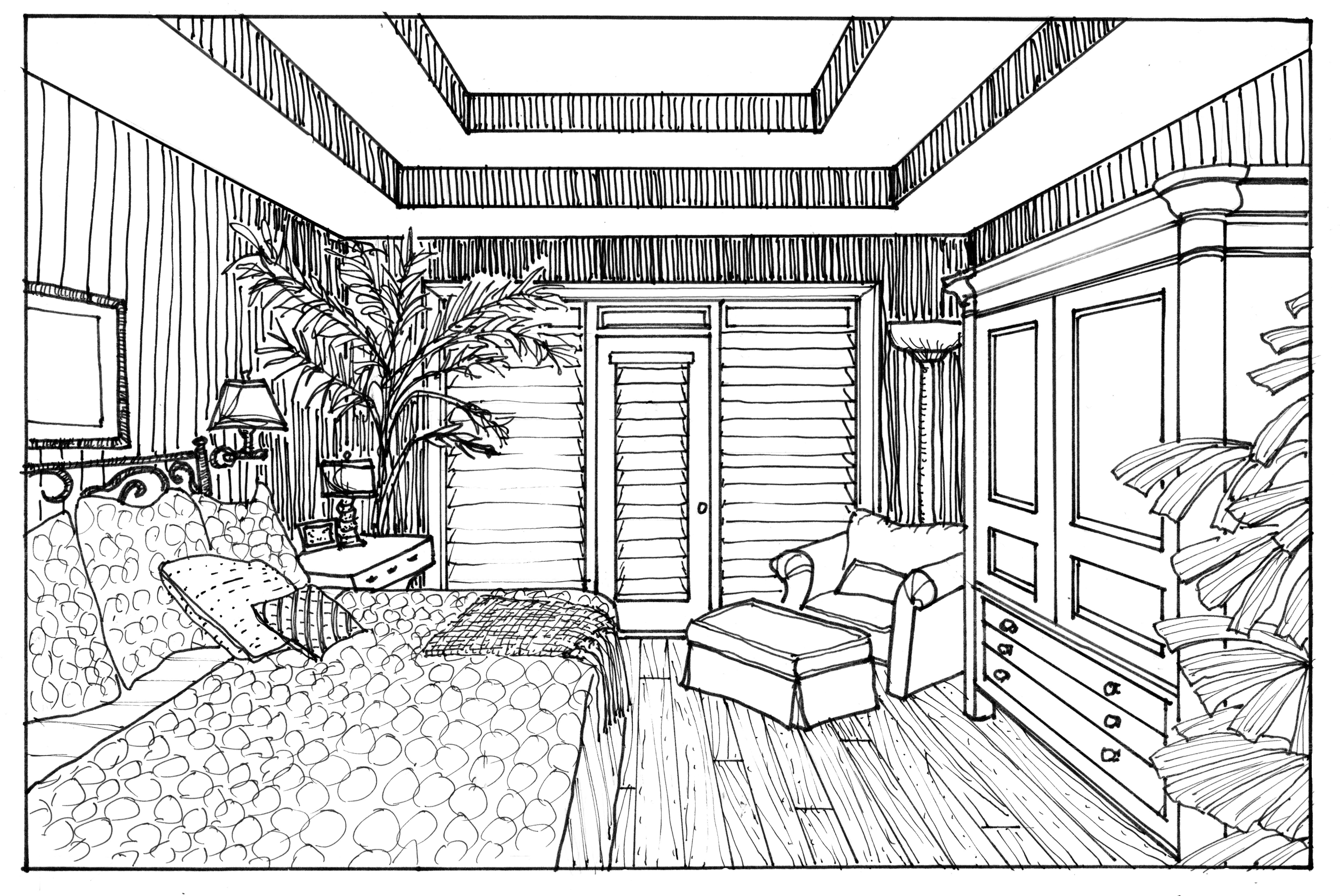 Using a photograph of an interior space is great tool to for drawing a realistic interior