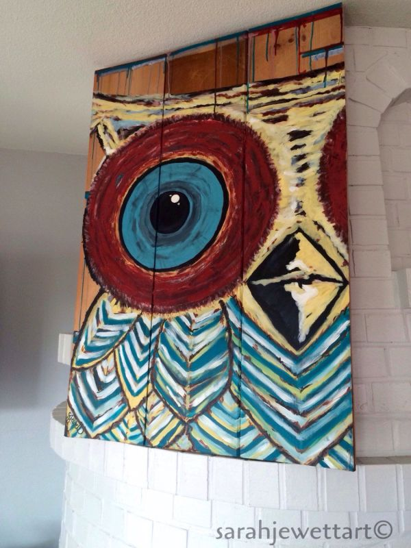 Abstract Owl Painting Sarahjewettart Https